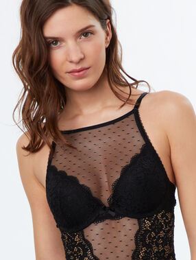 Lace and mesh padded body black.