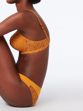 Floral lace panel knickers mustard.