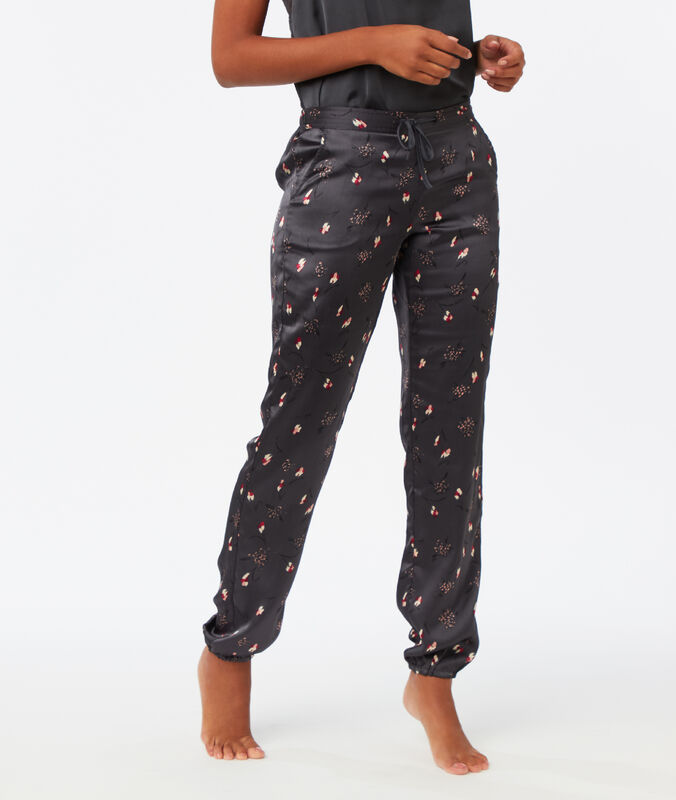Printed satin trousers gray.
