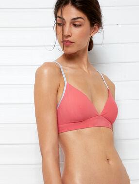 Triangle bikini top, silver details coral.
