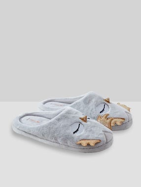 Owl mule slippers grey.