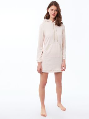 Hooded sweatshirt dress pale pink.