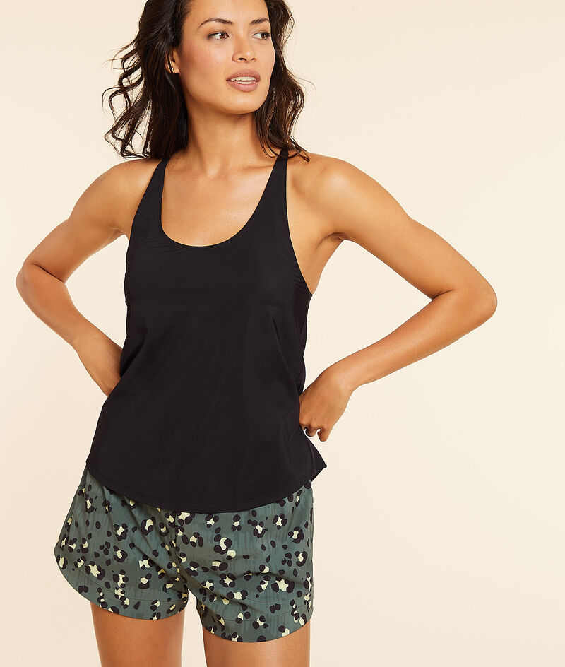 Cross-back tank top with integrated bra;${refinementColor}
