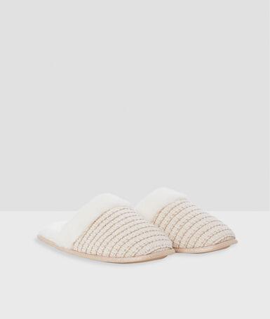 Mule slippers ecru.