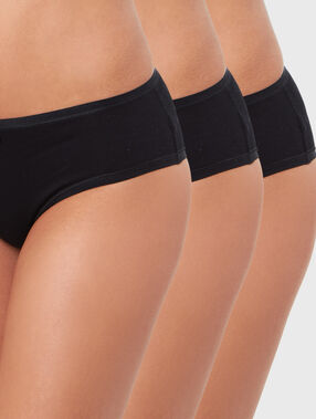 Lot de 3 shortys unis en coton noir.