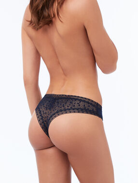 Bi-material tanga midnight blue.