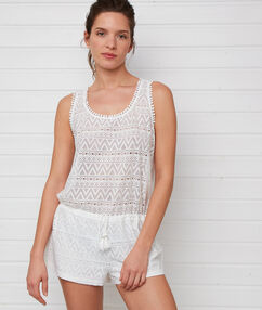 Beach playsuit off-white.