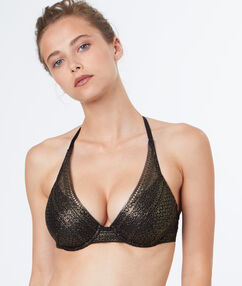 Triangle bra gold.