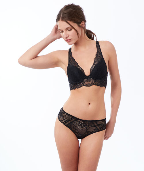 Bra no. 2 - lace plunging push-up, cross-backed