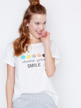 Smiley printed t-shirt white.