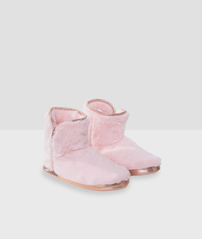 Boot slippers with gold detailing pink.