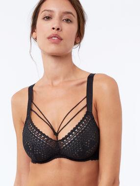 Demi-cup lace bra with straps black.