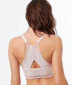 Lace triangle bra powder pink.