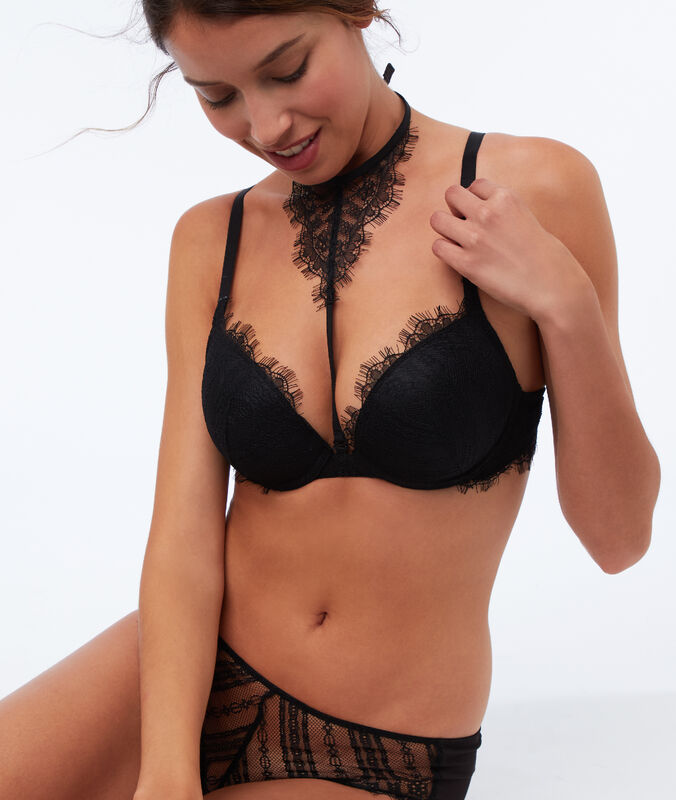 Bra no. 5 - padded bra with removable choker black.