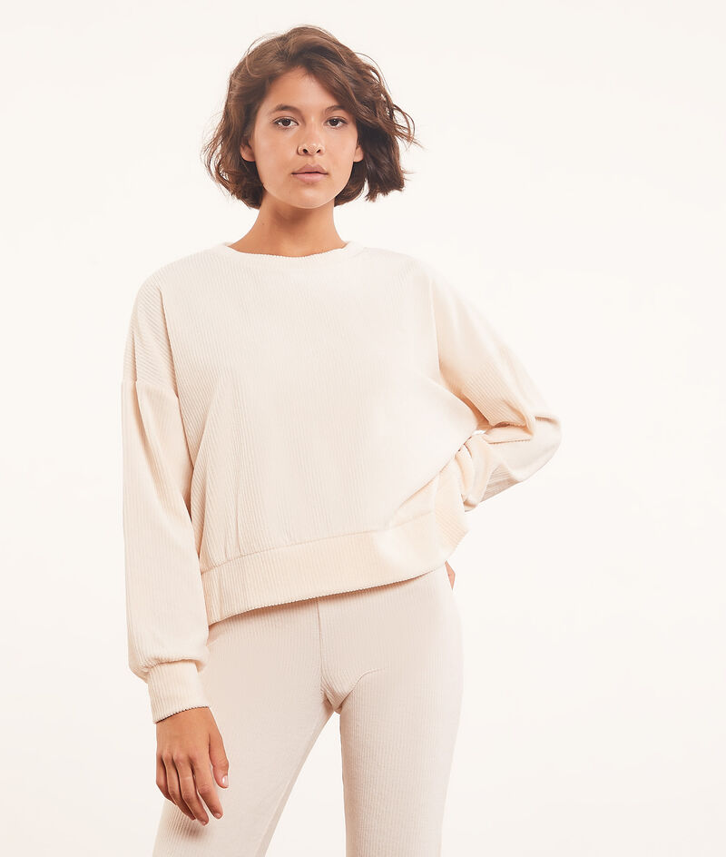 Ribbed long-sleeved top ;${refinementColor}