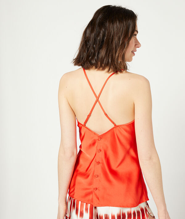 Satiny cami top with button through back and crossed straps;${refinementColor}
