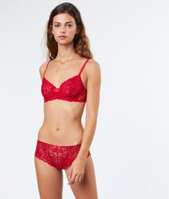 Lace demi-cup bra red.
