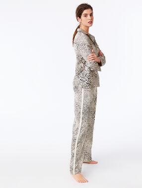 Pantalon large imprimé léopard ecru.