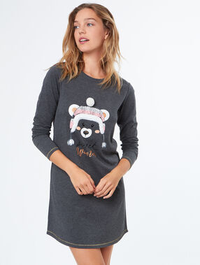 Teddy printed nightdress grey.