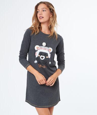 Teddy printed nightdress grey.
