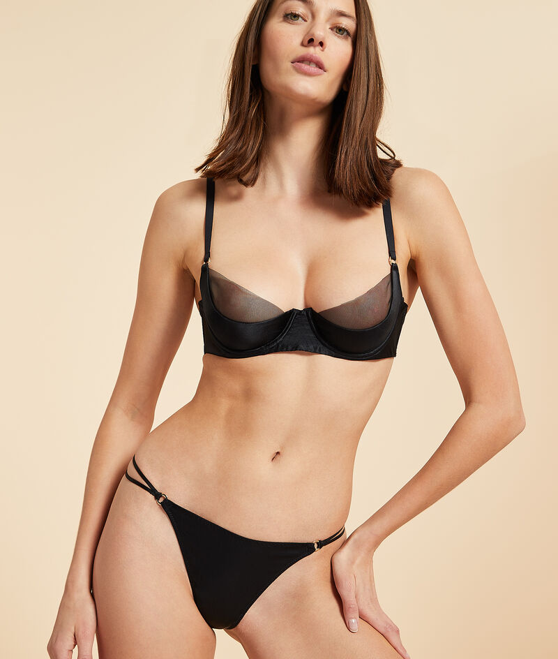 Lightly padded tulle and silk bra;${refinementColor}