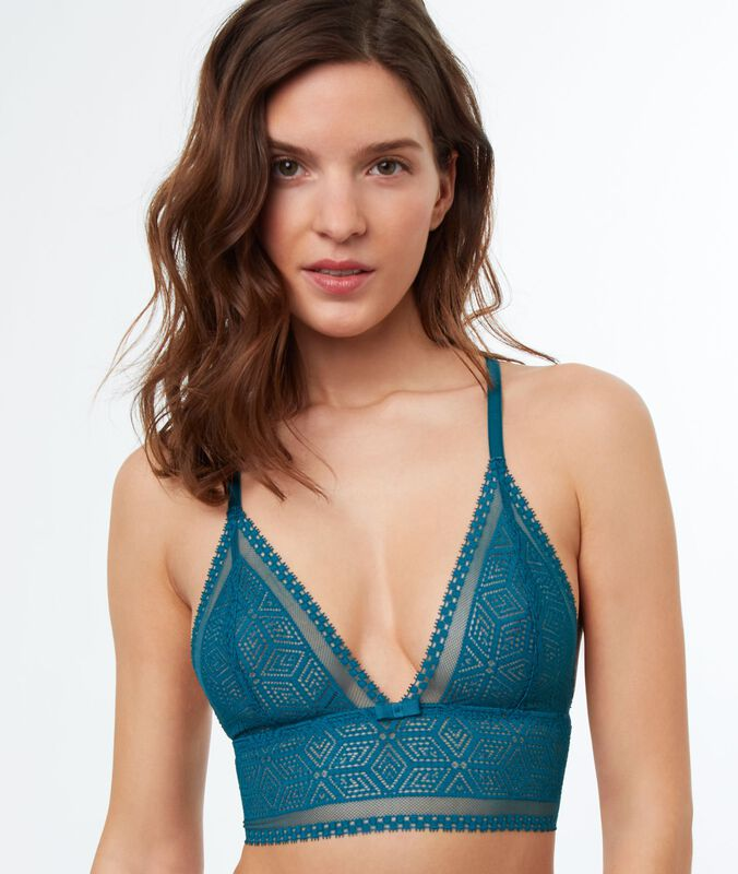 Non-wired lace triangle bra, wide basque peacock blue.