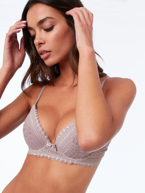 Bra no. 2 - lace plunging push-up bra taupe.