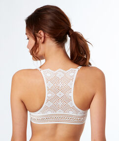 Padded demi-cup lace bra, racer back off-white.