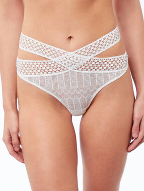 Lace tanga crossed at the front ecru.