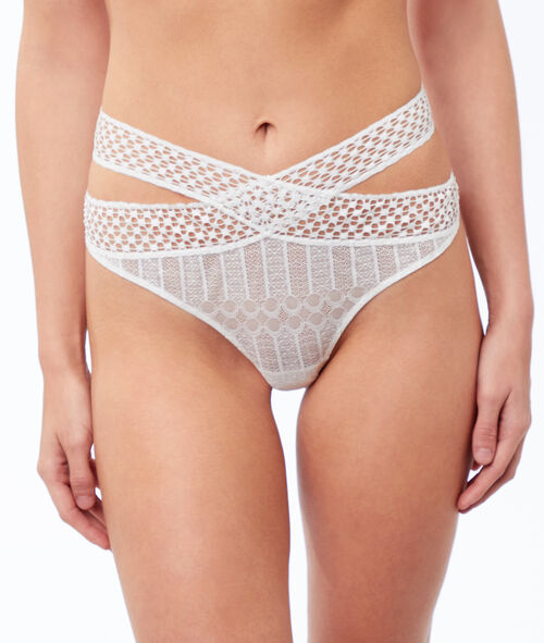 Lace tanga crossed at the front
