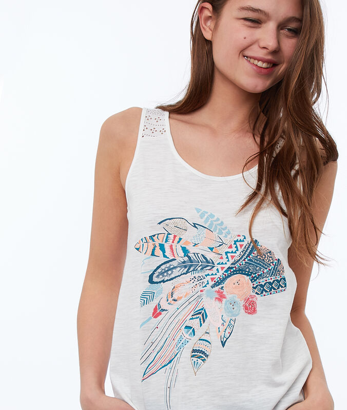 Indian headdress-print top white.