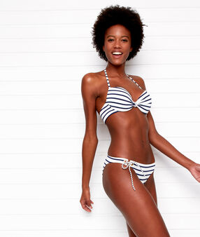Striped bikini top off-white/navy.