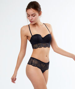 Graphic lace tangas charcoal.
