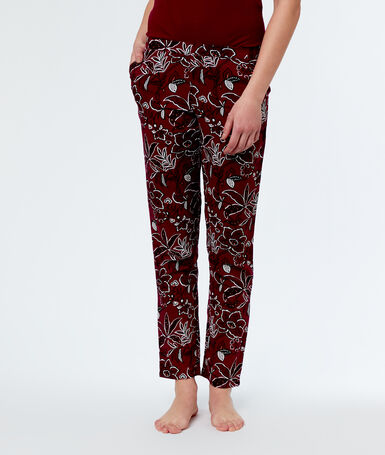 Printed pyjama bottoms burgundy.