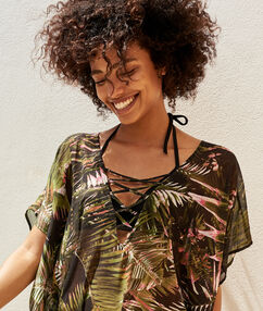 Tropical printed tunique black.