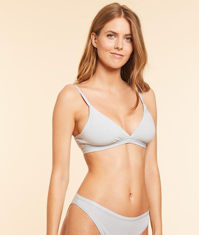 Stretchy organic cotton triangle bra;${refinementColor}