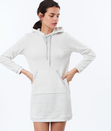 Fleece homewear sweatshirt dress ecru.