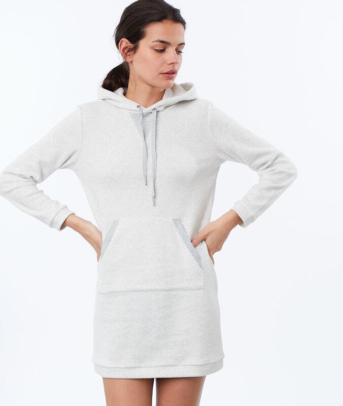 Fleece homewear sweatshirt dress ecru.