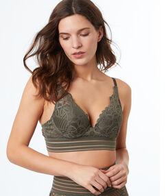 Bra no. 3 - lace triangle push-up bra with elasticated underband khaki.