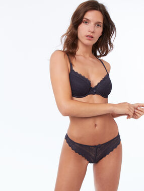 Soft bra: lace padded demi cup grey.