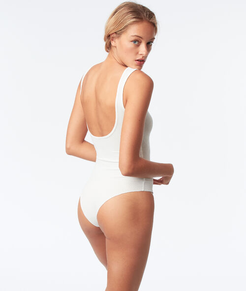 Sleeveless bodysuit with open back