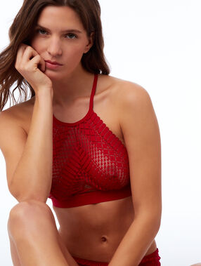 Lace bralet with crossed back red.