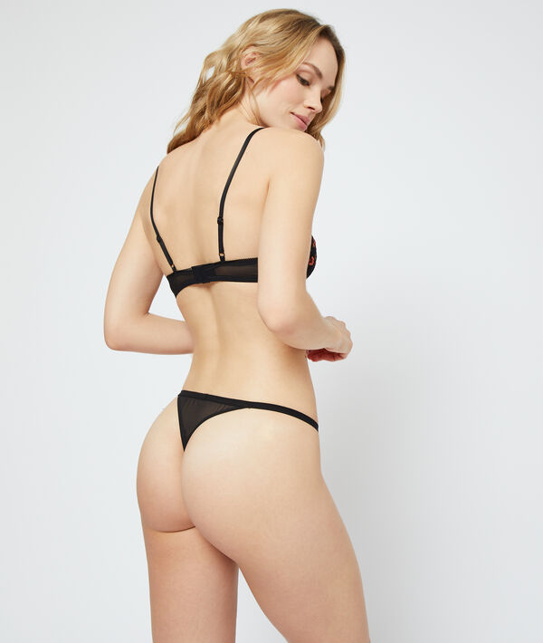 Embroidered tulle thong;${refinementColor}