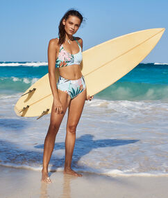 High-waist bikini bottom multicolor.