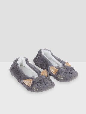 Zapatillas tejido peluche gato c.gris.
