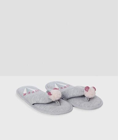 Tassel flip flops gray.