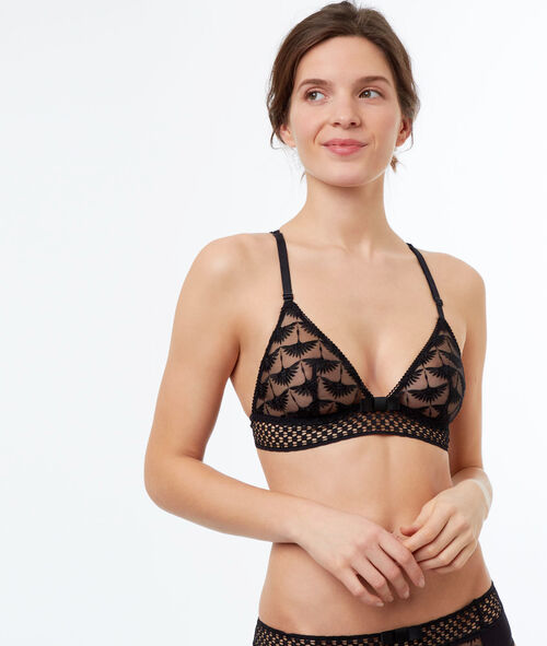 Lace triangle bra with embroideries and open-work basque