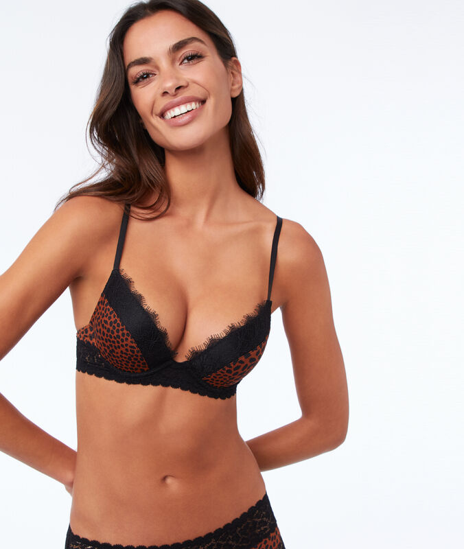 Bra n°2 - lace plunging push-up bra leopard.
