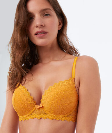 Bra no. 1 - lace magic up gold button.