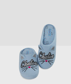 Printed slippers blue.
